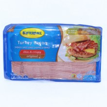 Butterball Original Thin  and  Crispy Turkey Bacon Smoked Cured Turkey Chopped  and  Formed No MSG  and  No Fillers 60Per Cent Less Fat and 41Per Cent Less Sodium