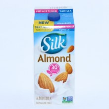 Silk Vanilla Unsweetened  Almond Milk Non GMO No Added Sugar Dairy or Lactose Free Gluten Free Soy Free Carrageenan Free No Saturated Fat Cholesterol Free No Artificial Colors or Flavors 64 oz