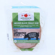 Applegate Naturals Uncured Black Forest Ham  No Antibiotics Added  No Nitrates Added  Gluten and Casein Free