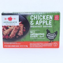 Applegate Chicken & Apple Breakfast Sausage No Antibiotics & Gluten Free.  7 oz