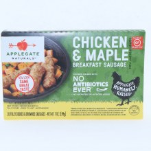Applegate Chicken  and  Maple Breakfast Sausage. Non Antibiotics Used Gluten Free.  7 oz