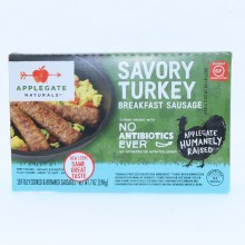Applegate Savory Turkey Breakfast Sausage. No Antibiotics Used Gluten Free.  7 oz