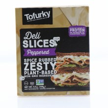 Tofurky Vegan Deli Peppered Slices Vegan Plant Based NON GMO Ingredients No Saturated Fat Cholesterol Free 5.5 oz