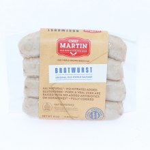 Chef Martin Bauernwurst Original Sausage All Natural No Nitrates Added Gluten Free Pork and Veal Used Are Raised with No Added Antibiotics or Hormones Fully Cooked