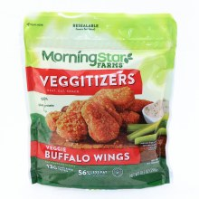 Morning Star Buffalo Wings Hot  and  Spicy Veggie Buffalo Wings with a Crispy Breading 200 Calories 13g Plant Based Protein 56Per Cent Less Fat than Regular Chicken Wings Non GMO Soy Vegan 10.5 oz