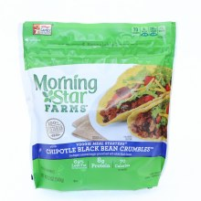 Morning Star Chipotle Black Bean Crumbles 69Per Cent Less Fat than Regular Beef 8g Protein 70 Calories per Serving 12 oz