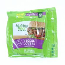 Morning Star Veggie Lovers 10 Veggies Seeds  and  Grains No Artificial Colors or Flavors Non GMO Soy 2 Vegan Burgers 8 oz