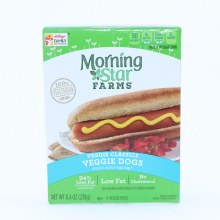 Morning Star Veggie Dogs Low Fat No Cholesterol 94Per Cent Less Fat than the Leading Chicken  and  Pork Hot Dogs 6 Veggie Dogs 8.4 oz