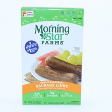 Morning Star Sausage Links 82Per Cent Less Fat than Cooked Pork Sausage 9g Protein No Cholesterol 8 oz 8 oz