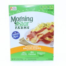 Morning Star Bacon Strips 36Per Cent Less Fat than Cooked Pork Bacon 60 Calories Cholesterol Free 5.25 oz 5.25 oz