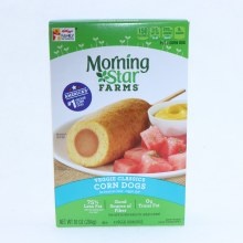 Morning Star Corn Dogs Good Source of Fiber 0g Trans Fat 75Per Cent Less Fat than the Leading Beef Corn Dogs 4 Veggie Corn Dogs 10 oz