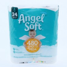 Angel Soft Unscented Bathroom Tissue Paper 6 Mega Rolls 2 Ply Septic Safe and 480 Sheets per Mega Roll