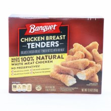 Banquet Chicken Breast Tenders made with 100Per Cent Natural White Meat Chicken No Preservatives No Artificial Colors 0g Trans Fat Per Serving 12.6 oz