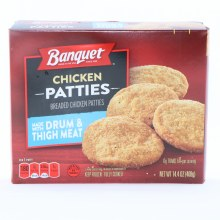 Banquet Chicken Patties made with Drum  and  Thigh Meat 0g Trans Fat per serving 14.4 oz