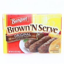 Banquet Brown N Serve  Original Sausage Links made with Pork  and  Turkey  10 Sausages  6.4 oz