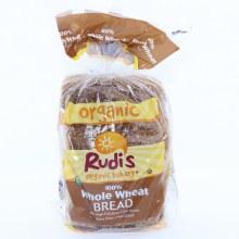 Rudi's Organic 100% Whole Wheat Bread. No High Fructose Corn Syrup, Dairy Free and Non GMO 22 oz