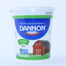 Dannon Plain Yogurt  Low Fat  Non GMO  Gluten Free  32oz