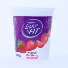 Dannon Light & Fit Original Strawberry Yogurt Non Fat 32oz Calcium & Vitamin D fro Strong Bones No Artificial Colors Gluten Free rBST Free 32 oz