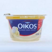 Dannon Oikos Blended Greek Yogurt. Banana Cream Flavor.  5.3 oz
