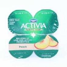 Dannon  Activia Peach Probiotic Yogurt  Lowfat Yogurt  4 4oz Cups  Gluten Free  Calcium  and  Vitamin D for Strong Bones  1 lb