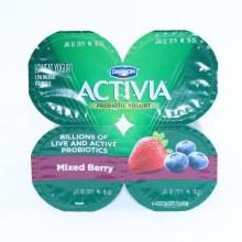 Danon  Activia Mixed Berry Probiotic Yogurt  Low fat Yogurt  4  4oz Cups  Gluten Free  Calcium   and  Vitamin D for Strong Bones
