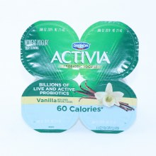 Danon  Activia Probiotic Yogurt  Vanilla with other Natural Flavors  4 4oz Cups  Nonfat Yogurt  Gluten Free  Calcium for Strong Bones  60 Calories 16 oz