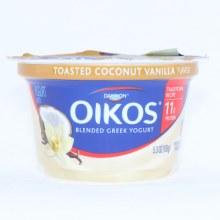 Dannon Oikos Blended Greek Yogurt. Toasted Coconut Vanilla Flavor.  5.3 oz