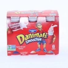 Dannon  Danimals Smoothie  Strawberry Flavor  6 3.1oz bottles  Non GMO 18.6 oz