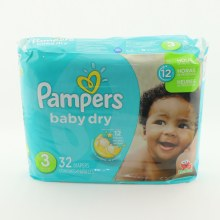 Pampers Baby Dry 3  and  12hrs of Protection  32 ct