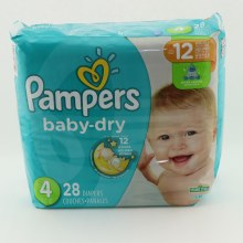 Pampers Baby Dry 4  and   up to 12hrs of protection 28 ct