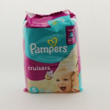 Pampers Cruisers up to 12hrs of Protection  and  5 27+lb 12+kg 21 ct
