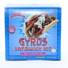 Devanco Foods Gyros Sandwich Kit 6 Pita Bread 2.47 Lbs 39.5 oz