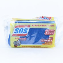 S.O.S Scrubber Sponges Durable  and  Long Lasting  Perfect NonStick Cookware 3 Scrubber Sponges