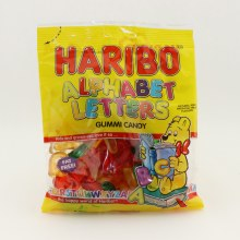 Haribo Alphabet Letters Gummi Candy, Fat Free, Naturally And Artificial Fruit Flavors  5 oz
