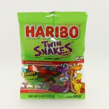 Haribo Twin Snakes Sour  and  Sweet Gummi Candy Natural And Artificial Fruit Flavors