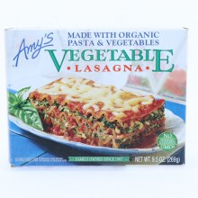 Amys Vegetable Lasagna Made with Organic Pasta  and  Vegetables. Non GMO.