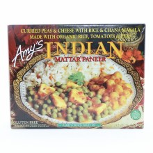 Amys Indian Mattar Paneer. Curried Peas  and  Cheese with Rice  and  Chana Masala Made with Organic Rice Tomatoes  and  Peas.  10 oz