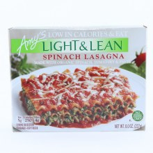 Amys Light  and  Lean Spinach Lasagna. Made with Organic Spinach Tomatoes  and  Pasta. Non GMO.  15 oz