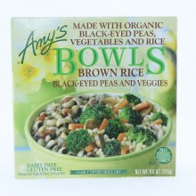 Amys Bowls Brown Rice Black Eyed Peas and Veggies. Made with Organic Black Eyed Peas Vegetables and Rice. Non GMO.