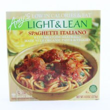 Amy's Light & Lean Spaghetti Italiano with Meatless Meatballs Made with Organic Pasta & Veggies. Non GMO.  8 oz