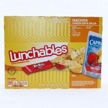 Lunchables Nachos Cheese Dip & Salsa. Kraft Nacho Cheese Dip. Salsa. Tortilla Chips. Capri Sun Fruit Punch. Kit Kat Candy 6 oz