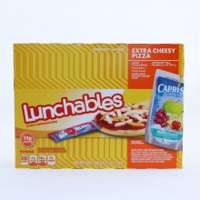 Lunchables Extra Cheesy Pizza. Kraft Cheese Blend. Pizza Sauce. PIzza Crusts. Capri Sun Pacific Cooler Drink. Airheads Blue Raspberry and Cherry.  6 oz