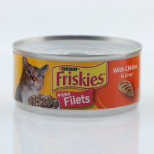 Purina Friskies Prime Filets Cat Food with Chicken in Gravy, 100% Complete and Balanced Nutrition for Adult Cats 5.5 oz