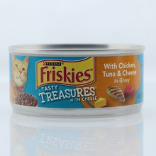 Purina Friskies Tasty Treasures Cat Food With Chicken una  and  Cheese in Gravy 100Per Cent Complete and Balanced Nutrition for Adult Cats