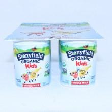 Stonyfield Organic Strawberry Banana Yogurt for Kids Whole Milk 6 4 oz Cups Non GMO 40Per Cent Less Sugar