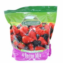 Campoverde 4 Berry Mix Strawberries Blackberries Blueberries  and  Raspberries Frozen Fruit No Added Sugar 3 LBS