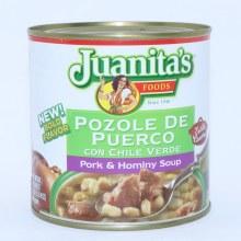 Juanita's Pozole De Puerco con Chile Verde, Pork and Hominy Soup 25 oz