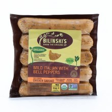 Bilinski's Organic Mild Italian with Bell Peppers Chicken Sausage  12 oz