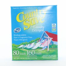Country Save Laundry Powder Detergent HE Turbo Biodegradable Dye  and  Fragance Free Hypo Allergenic 80 Loads for Standard  and  160 Loads for High Efficiency