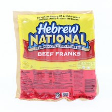 Hebrew National Beef Franks Made with Premium Cuts of 100Per Cent Kosher Beef No Artificial Flavors No Afrtificial Colors No Fillers No By Products and No Gluten